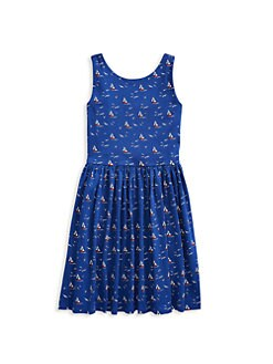 e86f3514e Little Girl's & Girl's Sailboat Cotton Jersey Dress NAVY WHITE. QUICK VIEW.  Product image. QUICK VIEW. Ralph Lauren