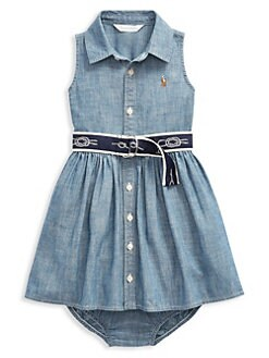 588190593 Ralph Lauren. Baby Girl's Two-Piece Chambray Belted Dress & Bloomers Set