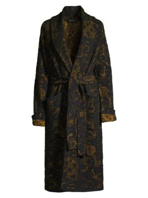 Etro Long Floral Jacquard Knit Trench Coat In Black
