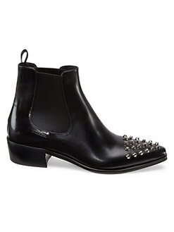 669c5d40fd8970 Product image. QUICK VIEW. Prada. Polished Leather Studded Chelsea Boots.  $1100.00. Pre-Order. NEW. Patent Leather Ankle Boots BLACK