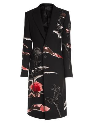 Alexander Mcqueen Coats Floral Virgin Wool Trench Coat