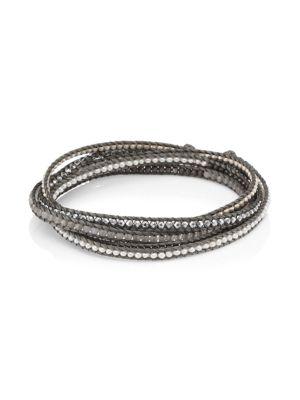 Chan Luu Sterling Silver, Moonstone & Silver Hematine Wrap Bracelet