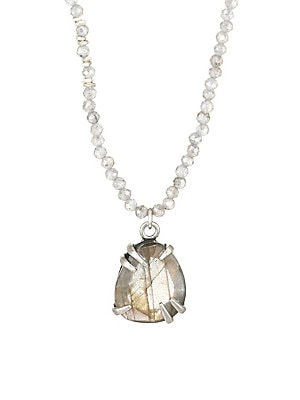 """Image of A faceted labradorite pendant centers a delicate necklace adorned with beaded stones that can be worn solo or layered. Mystic and copper labradorite Sterling silver Lobster clasp Imported SIZE Length, about 16"""" to 18"""". Fashion Jewelry - Semi Prec Coll C >"""