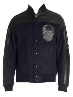 Alexander Mcqueen Jackets Skull Embroidered Mix Media Wool Bomber Jacket