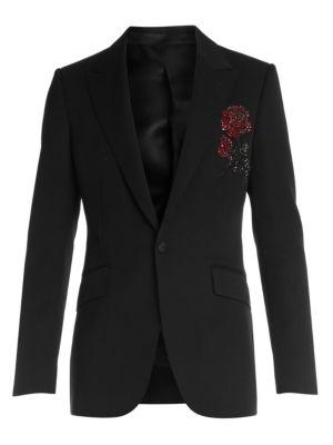 Alexander Mcqueen Jackets Embellished Rose Wool Evening Jacket
