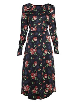 d3ebb05b0d QUICK VIEW. Magda Butrym. Ruched Floral Silk Midi Dress