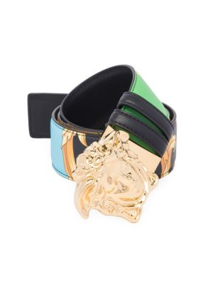 Versace Medusa Reversible Saffiano Leather Belt