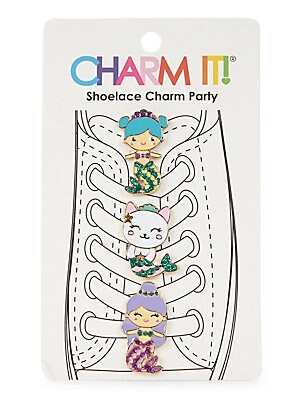 "Image of These adorable mermaid shoelace charms are footwear essentials. Set of 3 Enamel/glitter/base metal Imported SIZE 3""W x 5""H. Children's Wear - Infant Toys And Gifts > Saks Fifth Avenue. Charm It."