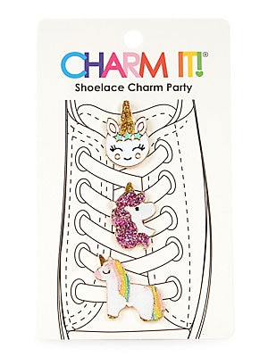 "Image of Decadent charms in the form of unicorns are perfect shoelace embellishments. Set of 3 Enamel/glitter/base metal Imported SIZE 3""W x 5""H Please note: Not for children under 3 years old. Children's Wear - Infant Toys And Gifts > Saks Fifth Avenue. Charm It."