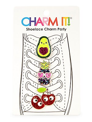 "Image of Quirky shoelace charms take on the form of an avocado, a pineapple and cherries. Set of 3 Enamel/glitter/base metal Imported SIZE 3""W x 5""H. Children's Wear - Infant Toys And Gifts > Saks Fifth Avenue. Charm It."