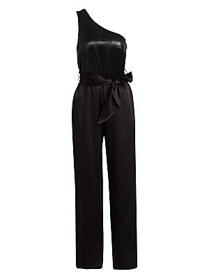 Image of A sleek statement look, this one-shoulder belted jumpsuit is an easy-to-wear option that fluidly graces the figure. Its shimmering lamé bodice falls to a tailored satin straight leg for a polished finish. One-shoulder neckline Sleeveless Concealed side zi