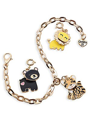Image of Start her Charm It! collection with lions, leopards and bears. Perfect for the animal lover. Set includes a Swivel Bear charm, Swivel Lion charm, Clouded Leopard charm, goldtone bracelet and signature gift box. All charms feature clasps to easily move and