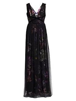 275fc6042775 Chiara Boni La Petite Robe. Nachelle Floral Print Tulle Layered Gown