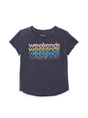 Chaser Little Girl S Weekends Graphic Jersey Tee
