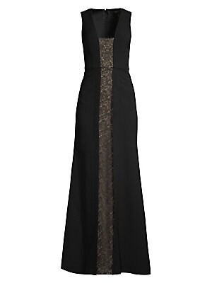 Image of A lace panel slices its way down the center of this gown, adding drama to the otherwise minimalist silhouette. Squareneck Sleeveless Concealed back zip closure Seamed waist Lined Polyester Machine wash Imported SIZE & FIT A-line gown silhouette About 61.2