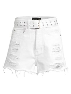 a6c8d508e4 The Kooples. Belted & Distressed Denim Cutoff Shorts