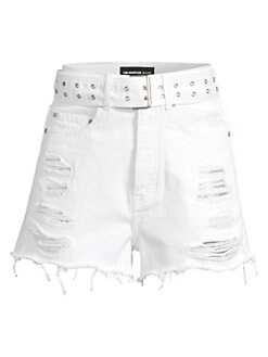 bb04541cba Belted & Distressed Denim Cutoff Shorts WHITE · Product image