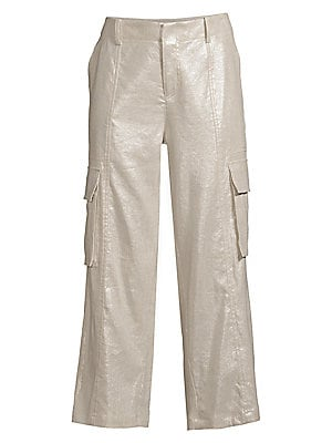 Mera Metallic Cargo Pants by Alice + Olivia