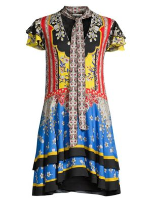 Alice Olivia Moore Floral Flutter Sleeve Tieneck Shift Dress