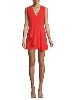 43cc2ccee69 Alice + Olivia. Callie Sleeveless Asymmetric Overlay A-line Dress