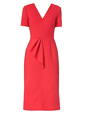Image of A chic midi dress with minimal styling is accented with an asymmetric draped ruffle that flutters from your hip. Exquisite tailoring and seaming that highlights the curve of your bust ensures this piece will be an essential addition to your wardrobe. V-ne