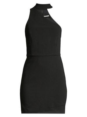 Alice Olivia Skyla Mock Neck One Shoulder Bodycon Dress