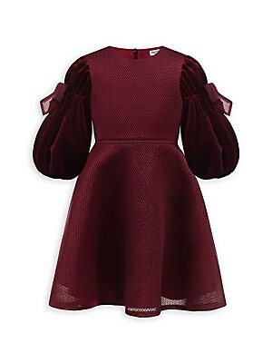 Image of A-line dress adorned with sweets bows on the voluminous sleeves. Roundneck Long bishop sleeves Back zip closure Polyester Dry clean Made in UK. Children's Wear - Classic Children > Saks Fifth Avenue. David Charles. Color: Wine. Size: 2.