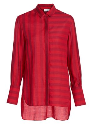 Akris Punto Tonal Stripe High Low Blouse
