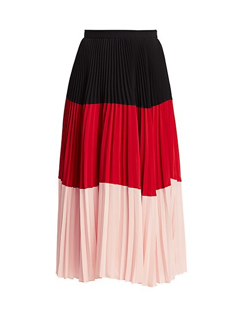 Colorblock Plissé Pleated Midi Skirt