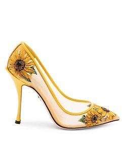 9a78bc92 QUICK VIEW. Dolce & Gabbana. Embroidered Sunflower Mesh Pumps