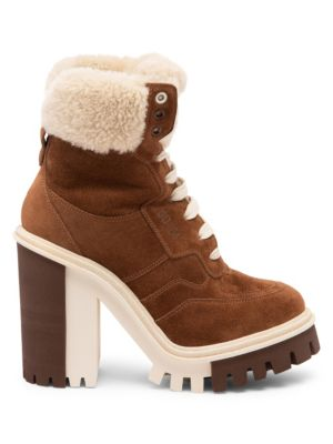 Dolce Amp Gabbana Shearling Lined Suede Hiker Boots