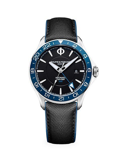 Clifton Club GMT Stainless Steel & Leather Strap Watch