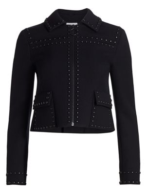 Akris Punto Studded Crop Wool Jacket