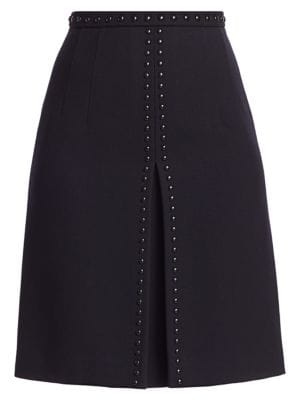 Akris Punto Studded Wool A Line Skirt