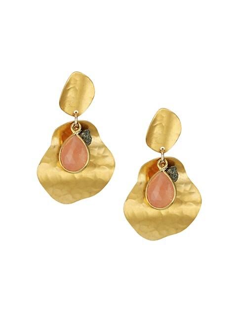 Hammered 18K Goldplated, Pink Moonstone & Pyrite Drop Earrings