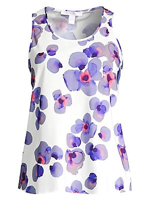 """Image of Abstract painterly petals form psychedelic florals that adorn this camisole with resplendent visuals. Scoopneck Sleeveless Pullover style Polyester Machine wash Made in USA SIZE & FIT About 24.5"""" from shoulder to hem Model shown is 5'10"""" (177cm) wearing U"""