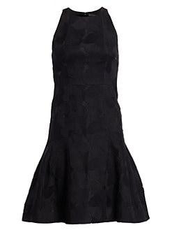 d8d077861ef2 QUICK VIEW. Halston Heritage. Floral Jacquard Sleeveless Flounce Dress