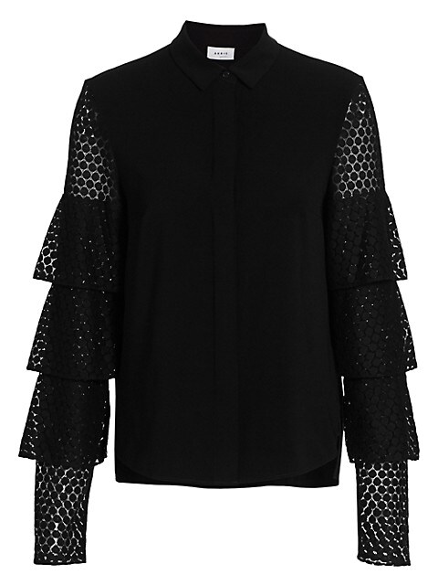 Tiered Lace-Sleeve Blouse