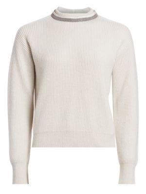 Brunello Cucinelli Monili Trimmed Ribbed Cashmere Crewneck Sweater