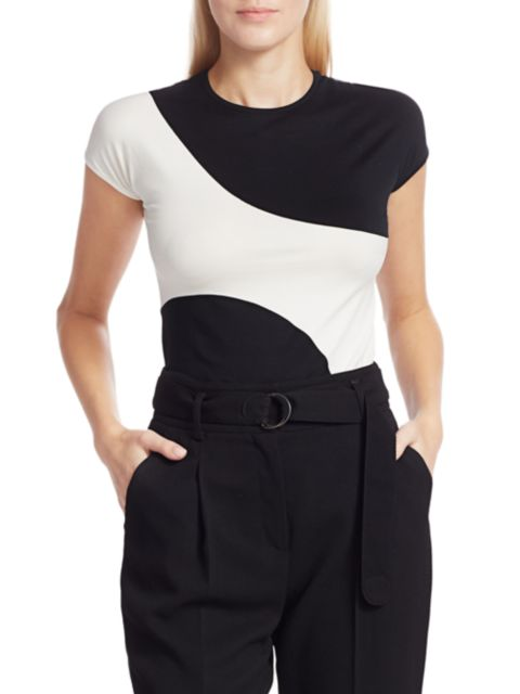 Akris punto Graphic Colorblock Fitted Tee   SaksFifthAvenue