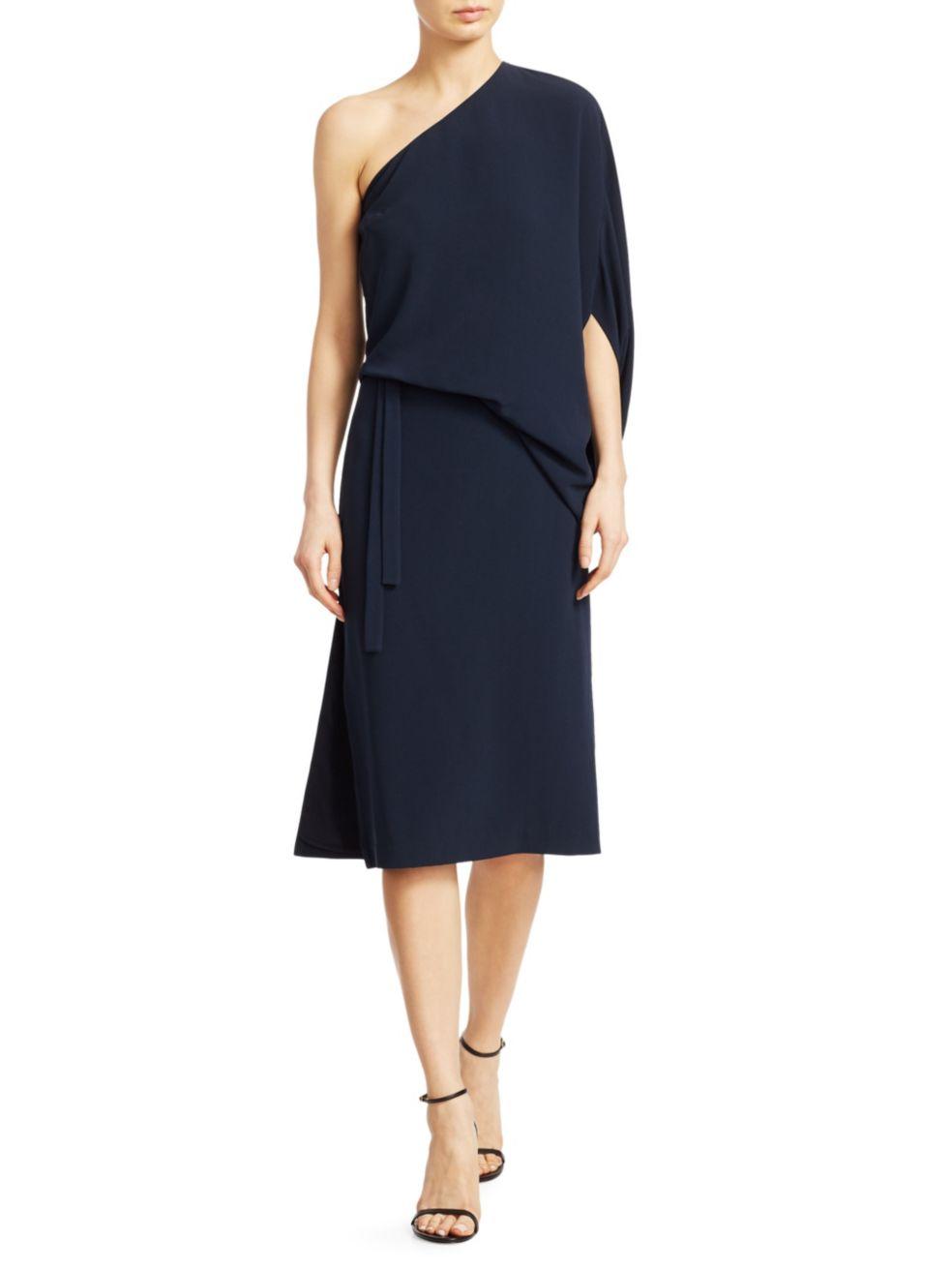 Halston Draped Asymmetric Sleeve Midi Dress | SaksFifthAvenue