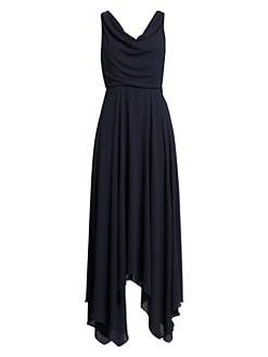 ca24d1a1c118a QUICK VIEW. Halston Heritage. Sleeveless Cowl Neck Side Slit Maxi  Handkerchief Dress