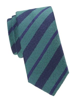 Charvet Alternating Stripes Wool Silk Tie