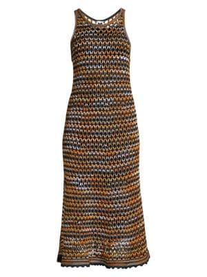 M Missoni Sleeveless Crochet Wool Blend Midi Dress