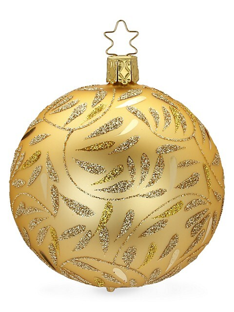 Delights Metallic Glitter Glass Ball Ornament