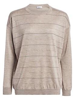 deff5834f9d Brunello Cucinelli. Embellished Stripe Cashmere & Silk Crewneck Sweater