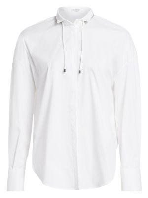 Brunello Cucinelli Drawstring Collar Poplin Shirt