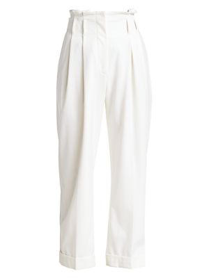 Brunello Cucinelli Couture Gabardine High Waist Pleated Trousers