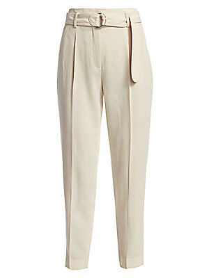 Fred Belted Wool Pants by Akris Punto