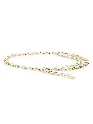 """Image of Elegant chain belt woven with leather. Goldtone Steel alloy/leather Imported SIZE Width, about 0.75"""". Soft Accessorie - Belts > Saks Fifth Avenue. B-Low The Belt. Color: White Gold."""